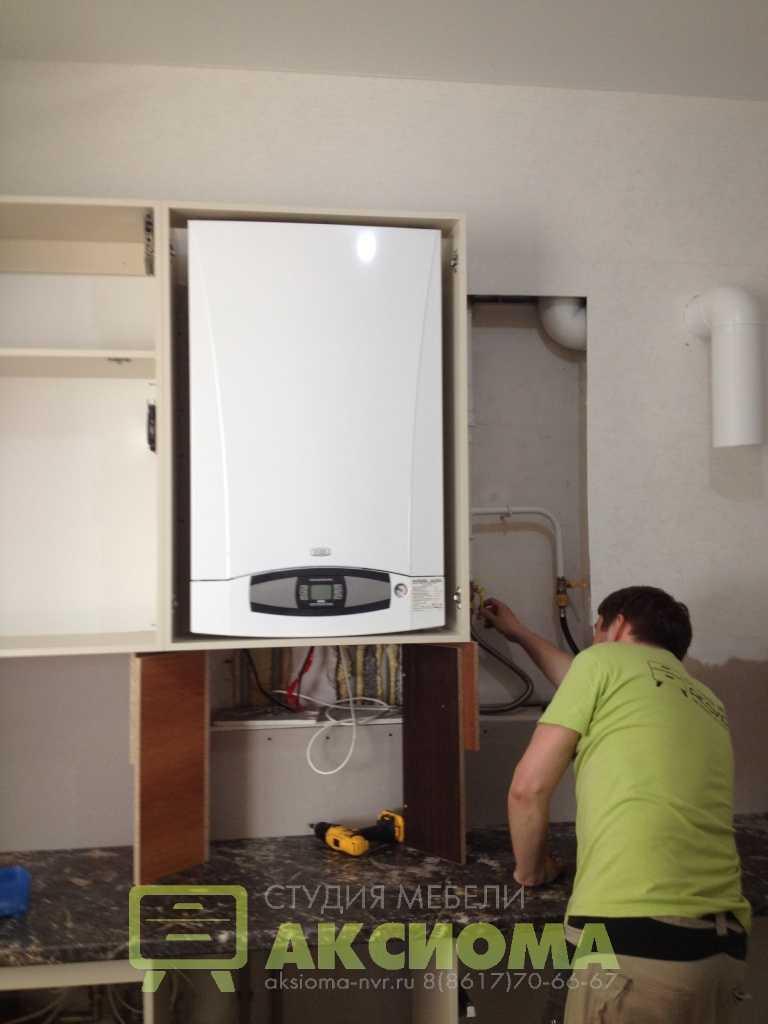 Варианты: как спрятать (замаскировать) газовый котел на кухне?