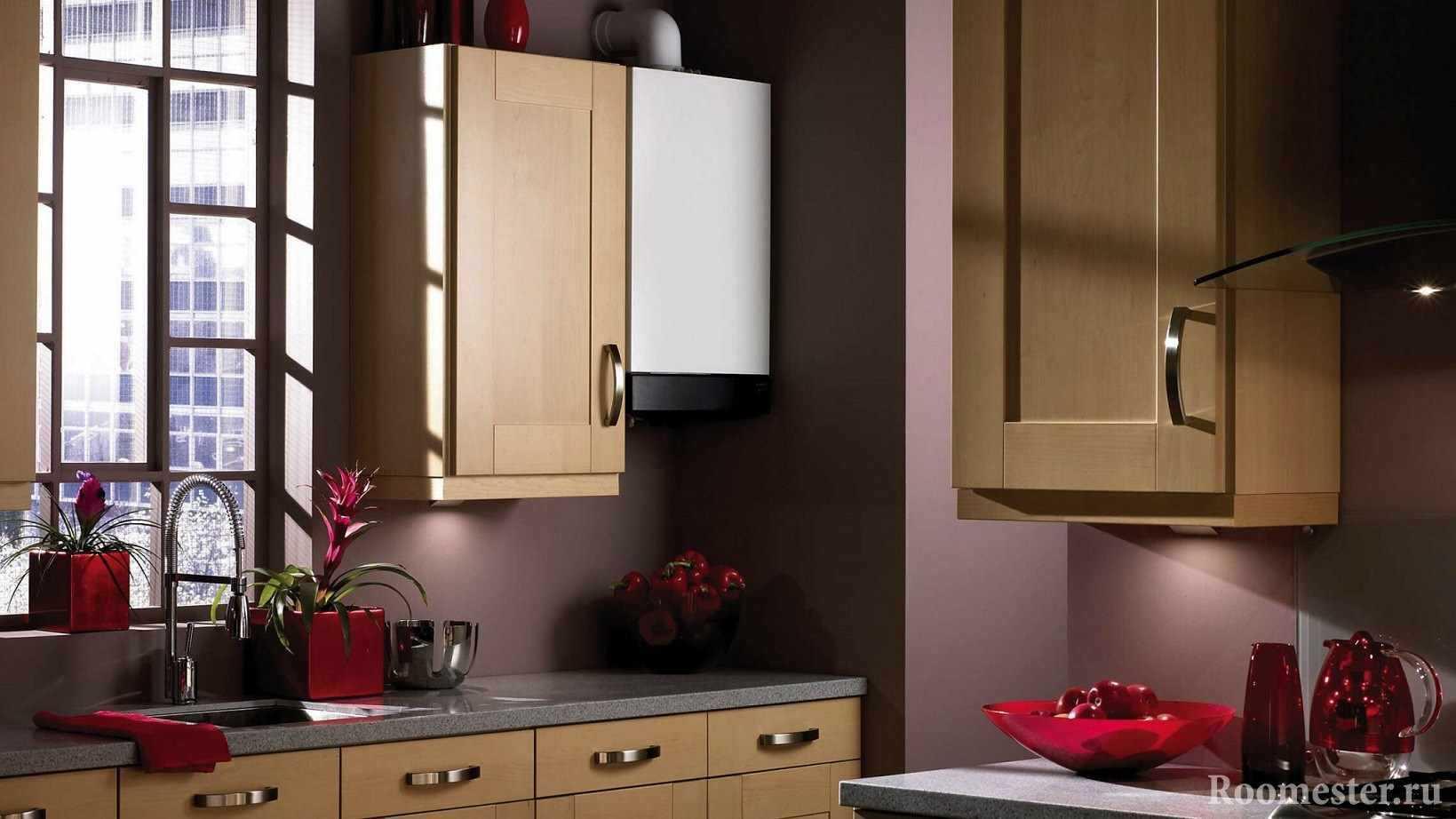 Как спрятать газовый котел на кухне: фото дизайна интерьера кухни